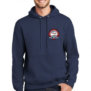 Platteville Gilcrest Fire Protection District Adult Navy Fleece Pullover Hooded Sweatshirt