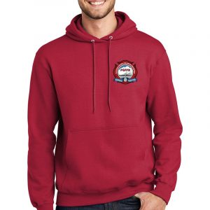 Platteville Gilcrest Fire Protection District Adult Red Fleece Pullover Hooded Sweatshirt