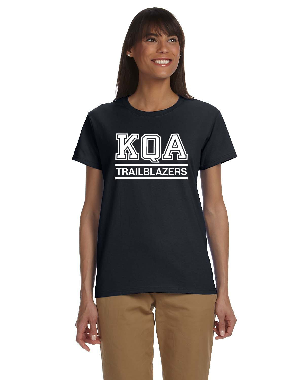 KQA Ladies Black Short Sleeve Cotton T-shirt