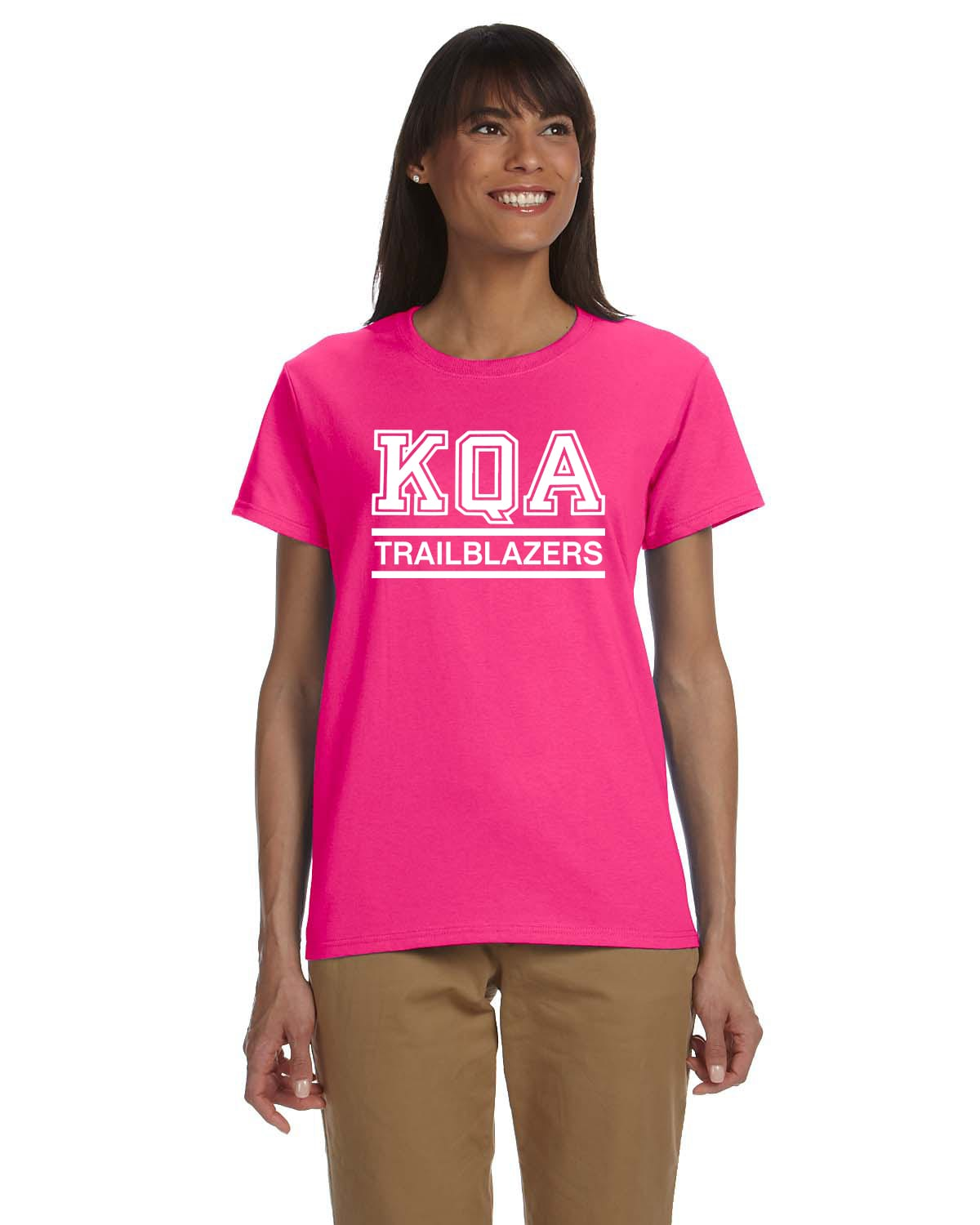 KQA Ladies Pink Short Sleeve Cotton T-shirt