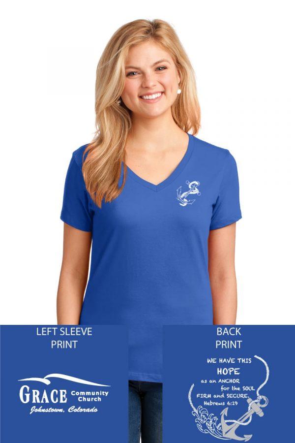Grace Community Church Ladies Retreat Ladies Royal Blue V-Neck Short Sleeve T-shirt