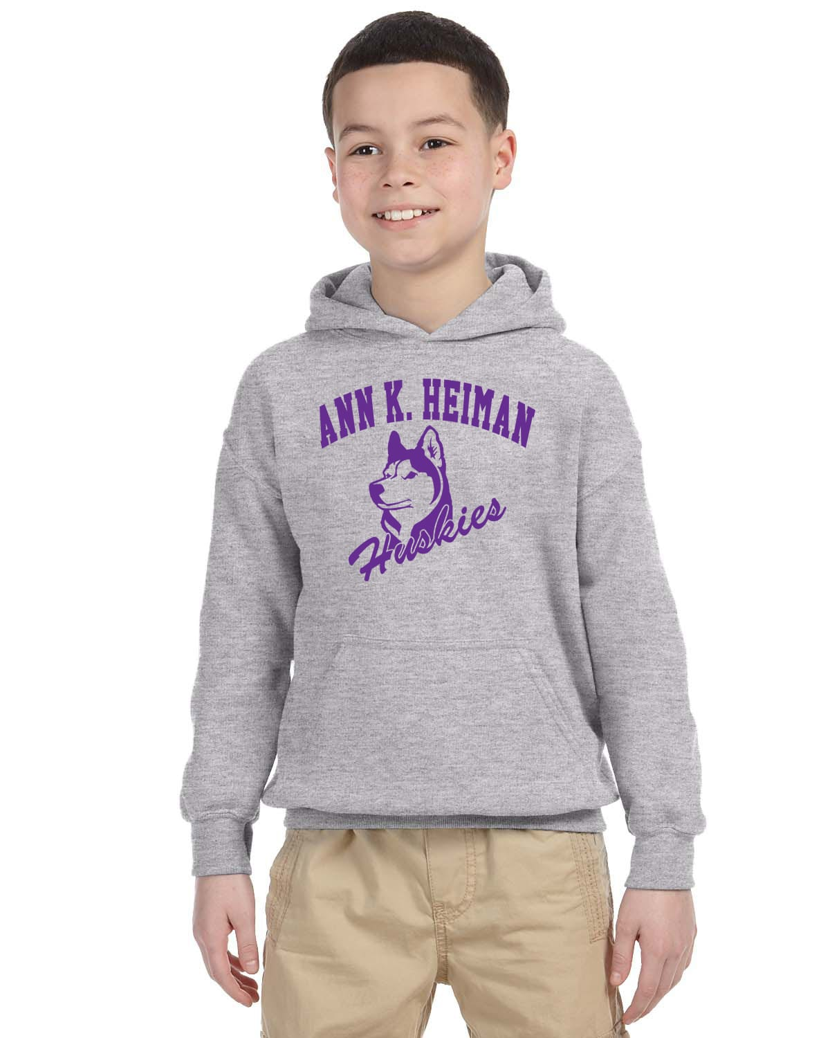 Heiman Elementary School Youth Grey Fleece Pullover Hooded Sweatshirt