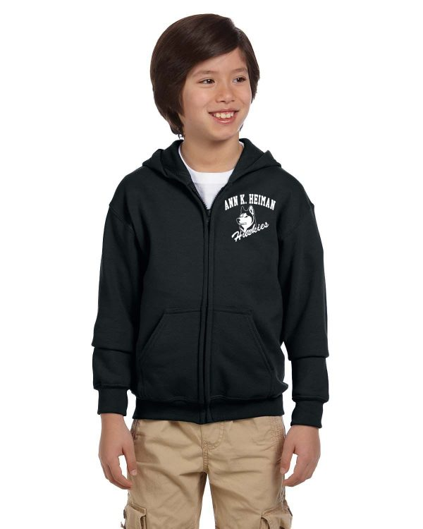 Heiman Elementary School Youth Black Full-Zip Fleece Hooded Sweatshirt