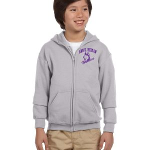 Heiman Elementary School Youth Grey Full-Zip Fleece Hooded Sweatshirt
