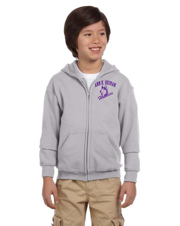 Heiman Elementary School Youth Grey Full-Zip Fleece Hooded Sweatshirt