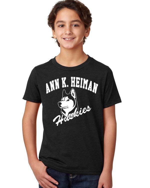 Heiman Elementary School Youth Black Short Sleeve Cotton/Poly T-Shirt