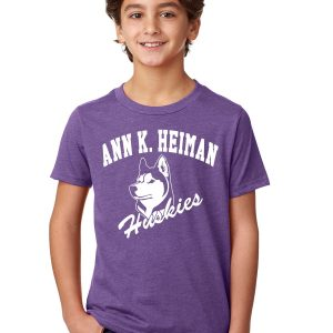 Heiman Elementary School Youth Purple Short Sleeve Cotton/Poly T-Shirt