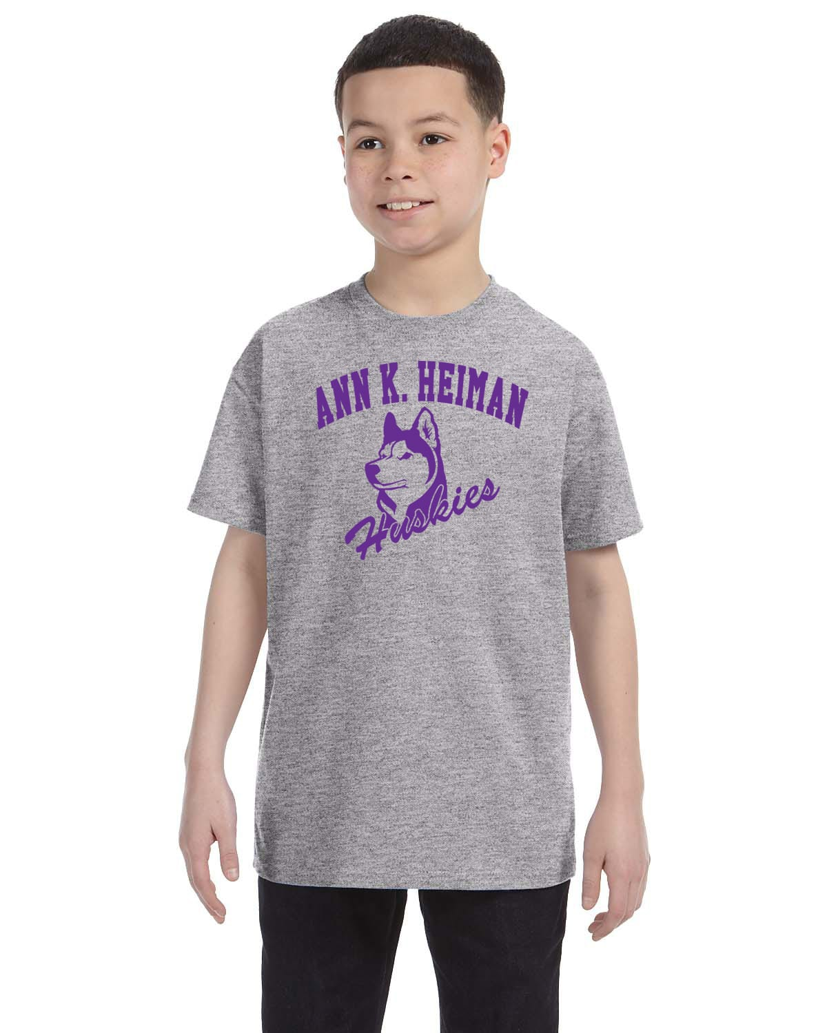 Heiman Elementary School Youth Grey Short Sleeve Cotton T-shirt
