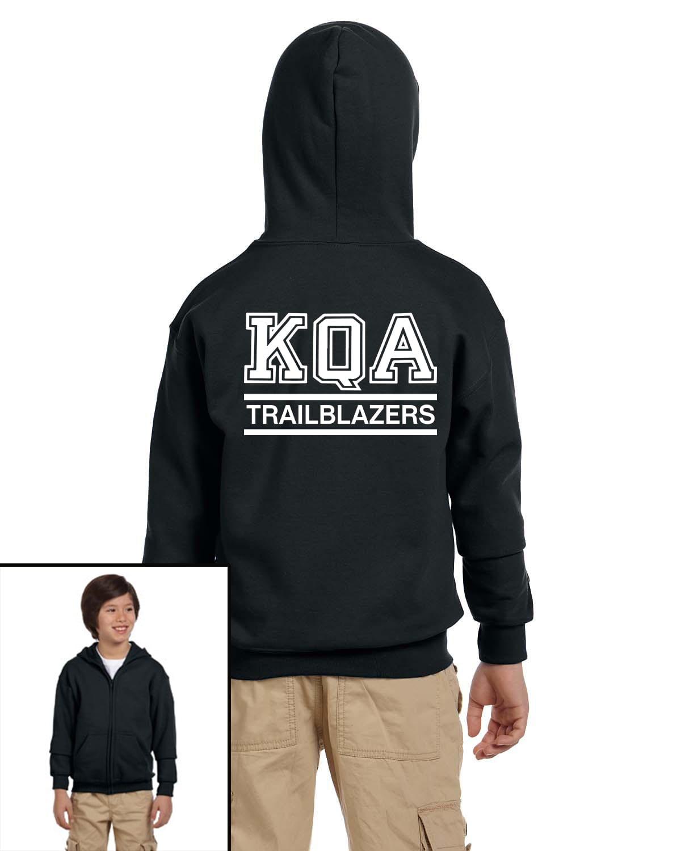 KQA Youth Black Full-Zip Hooded Sweatshirt