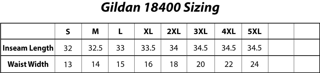 Gildan 18400 Adult Heavy Blend Adult 8 oz., 50/50 Open-Bottom Sweatpants Sizing Chart
