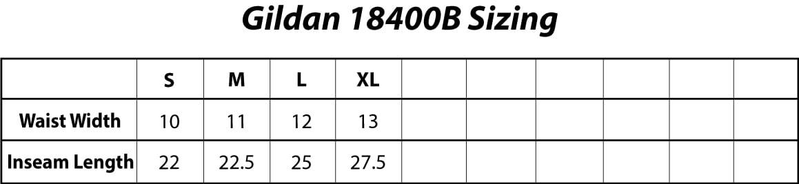 Gildan 18400B Youth Heavy Blend 8 oz., 50/50 Open-Bottom Sweatpants Sizing Chart