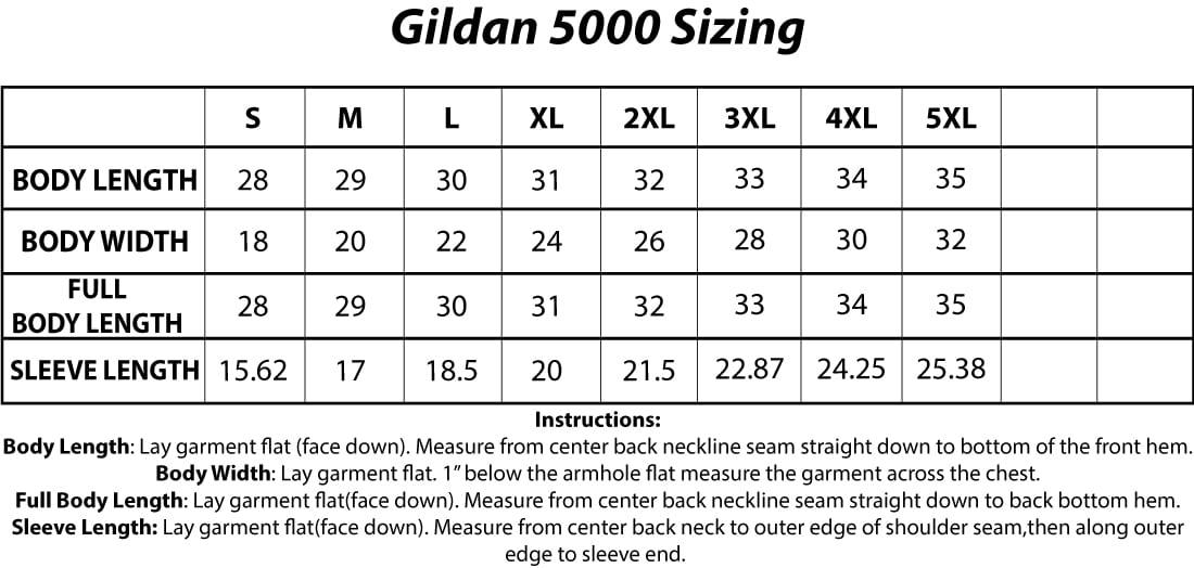 Gildan 5000 Adult Heavy Cotton 5.3 oz. T-Shirt Sizing Chart