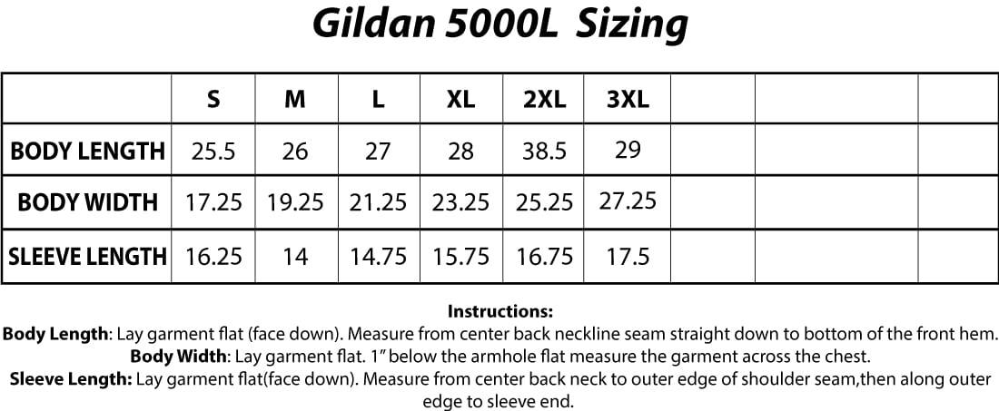 Gildan 5000L Sizing