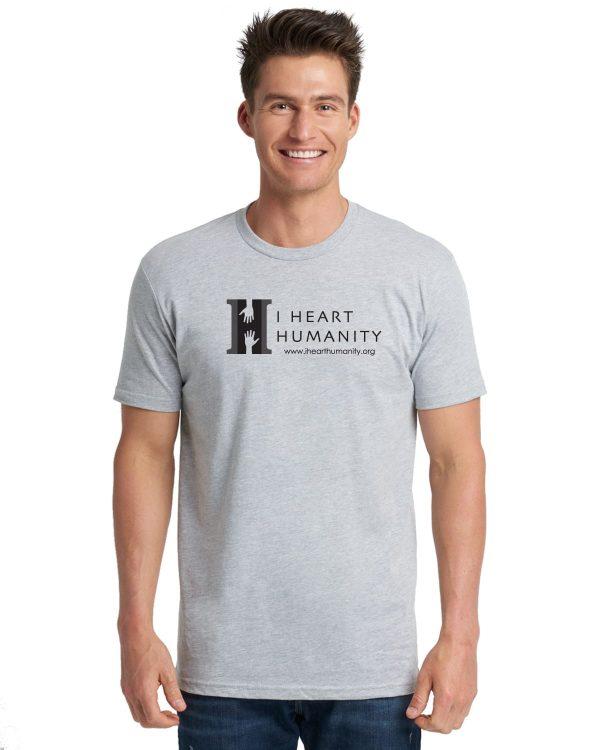 I Heart Humanity Adult Grey Short Sleeve Cotton T-shirt