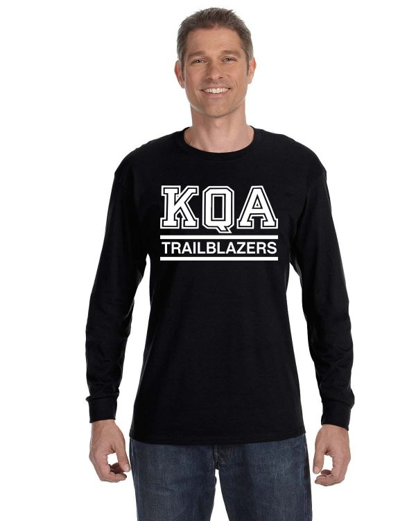 KQA Adult Black Long Sleeve Cotton T-shirt