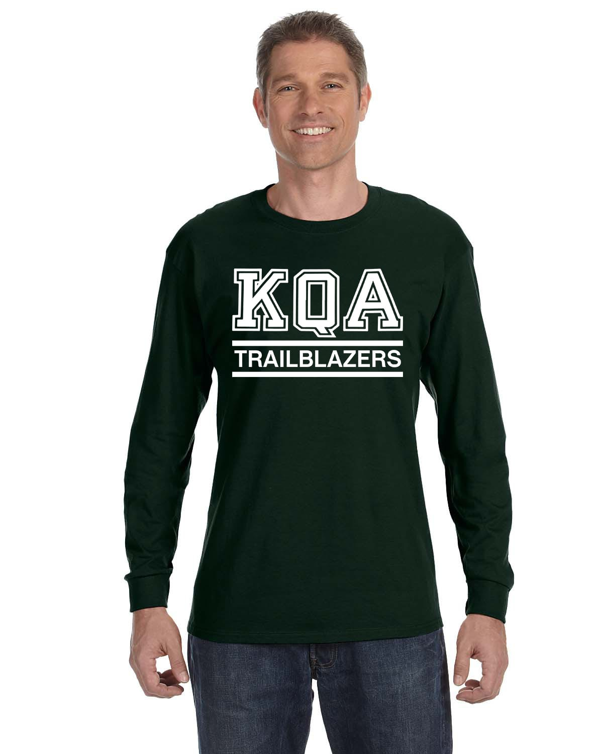 KQA Adult Forest Green Long Sleeve Cotton T-shirt