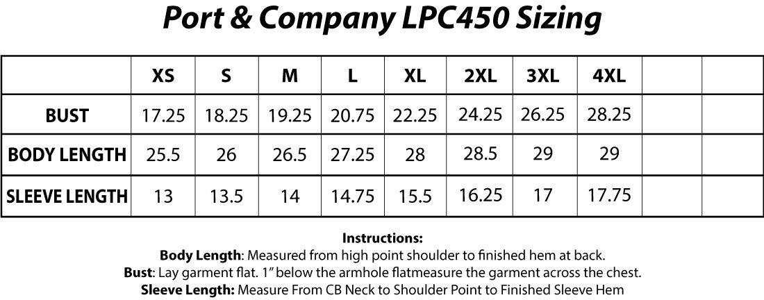 Port & Company® LPC450 Ladies Fan Favorite™ Tee Sizing Chart