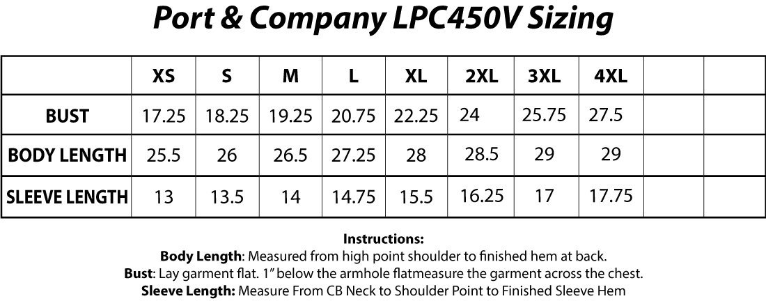 Port And Company LPC450V Sizing