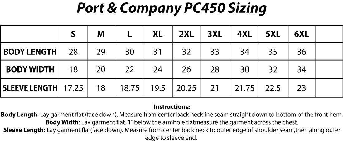 Port & Company® PC450 Fan Favorite™ Tee Sizing Chart