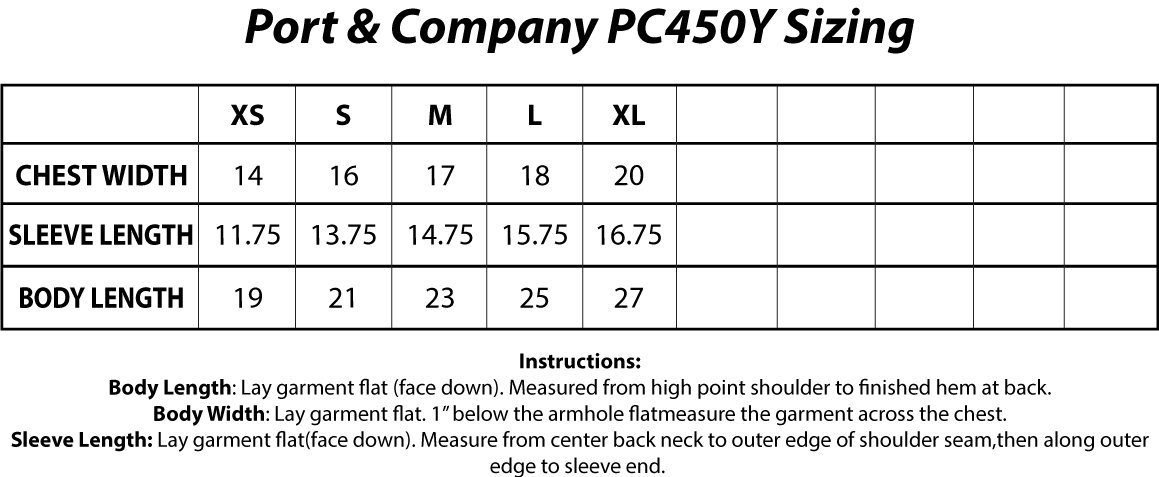 Port And Company PC450Y Sizing