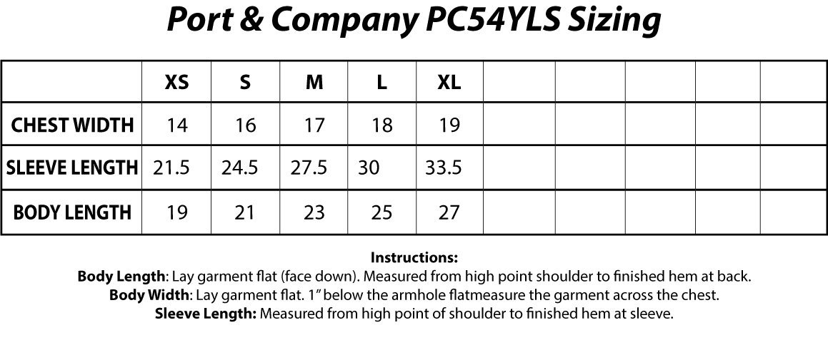 Port & Company® PC54YLS Youth Long Sleeve Core Cotton Tee Sizing Chart