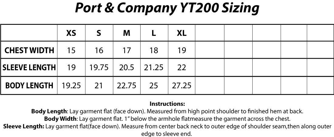 Port And Company YT200 Sizing