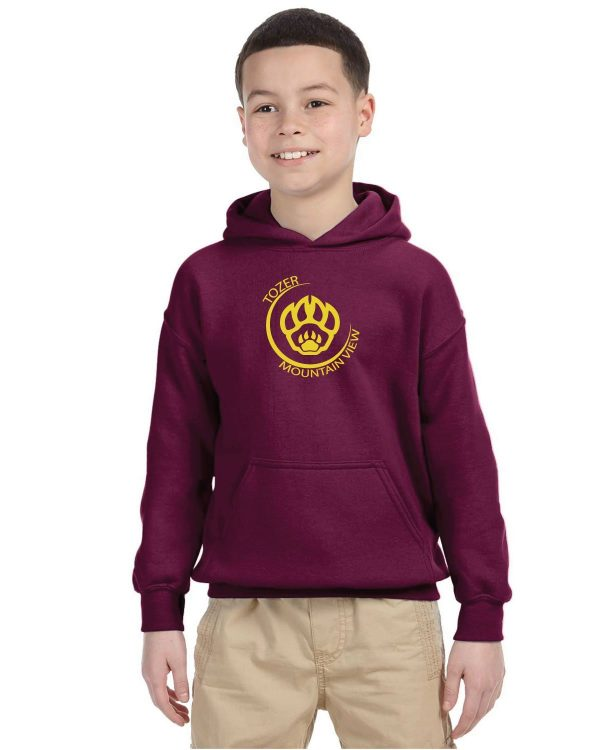Tozer/Mountain View Elementary School Youth Maroon Fleece Pullover Hooded Sweatshirt