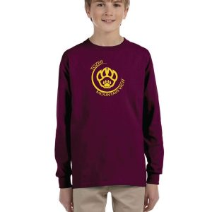 Tozer/Mountain View Elementary School Youth Maroon Long Sleeve Cotton T-Shirt