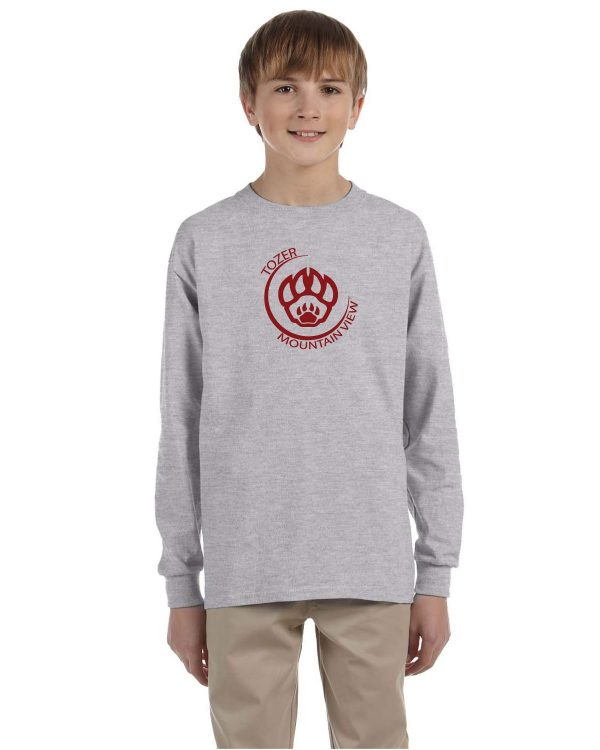 Tozer/Mountain View Elementary School Youth Grey Long Sleeve Cotton T-Shirt