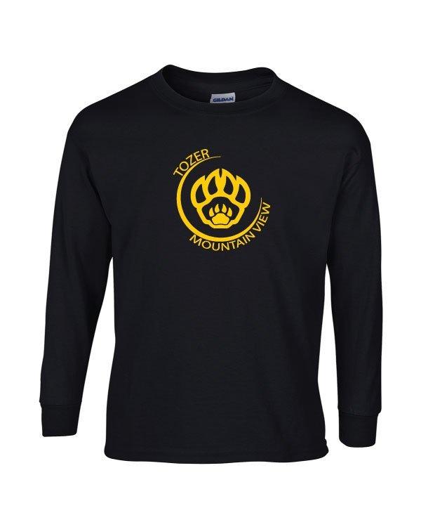 Tozer/Mountain View Elementary School Adult Black Long Sleeve Cotton T-shirt