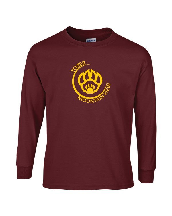 Tozer/Mountain View Elementary School Adult Maroon Long Sleeve Cotton T-shirt
