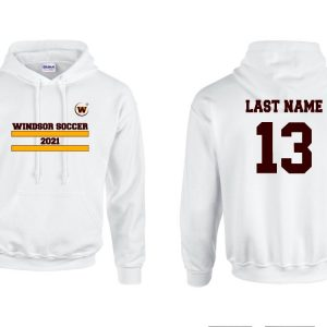 Windsor High School Gildan 18500 white soccer spirit pack hoodie with name and number
