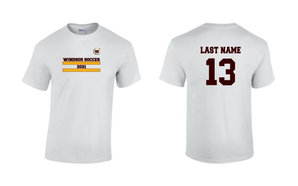 Windsor High School Soccer Gidlan 5000 white Spirit Pack t-shirt with name and number