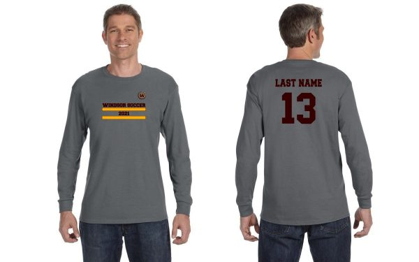 Windsor High School Gildan 5400 charcoal long sleeve Soccer Spirit Pack Logo with name and number