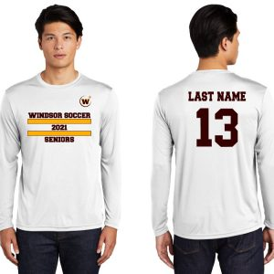 Windsor High School ST350LS white long sleeve Soccer Spirit Pack Logo with name and number