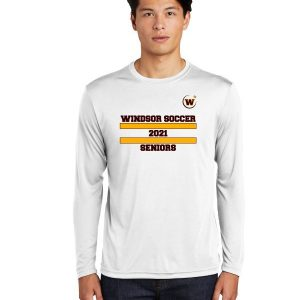 Windsor High School ST350LS white long sleeve senior Soccer Spirit Pack Logo with name and number