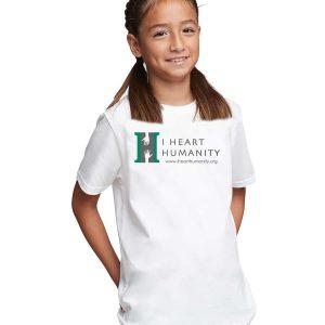 I Heart Humanity Youth White Short Sleeve Cotton T-shirt
