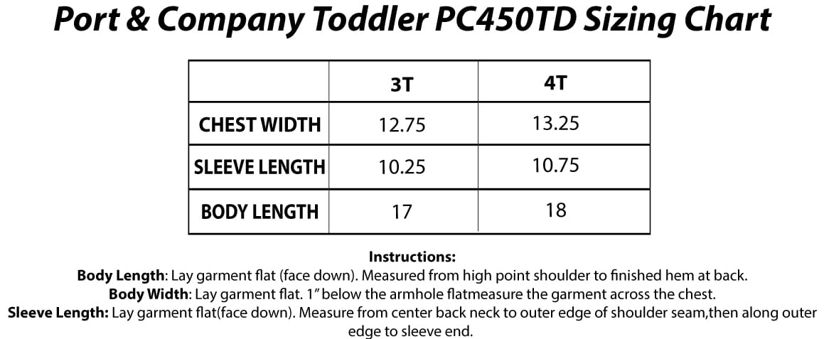 Port And Company PC450TD Sizing