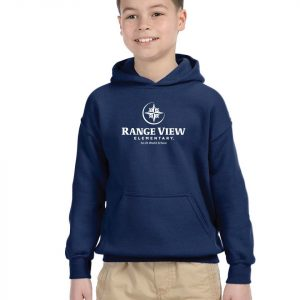 Range View Elementary School Youth Navy Fleece Pullover Hooded Sweatshirt