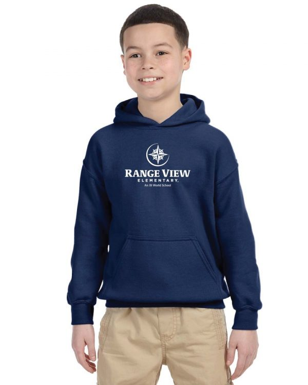 Range View Elementary School Youth Navy Fleece Pullover Hooded Sweatshirt