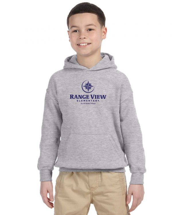 Range View Elementary School Youth Grey Fleece Pullover Hooded Sweatshirt