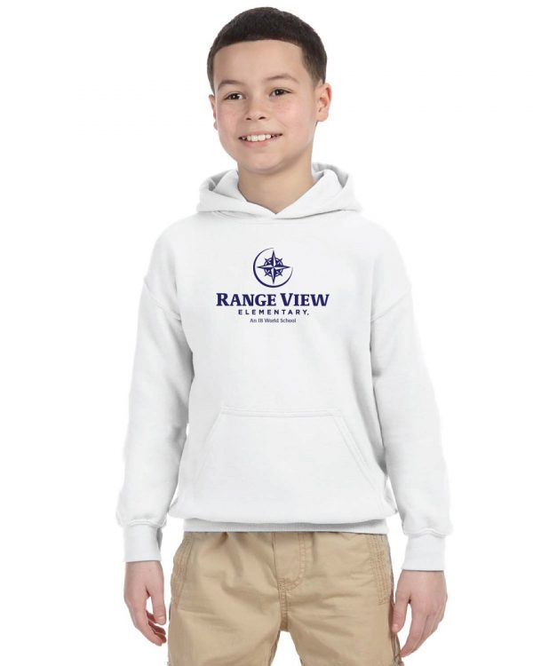 Range View Elementary School Youth White Fleece Pullover Hooded Sweatshirt