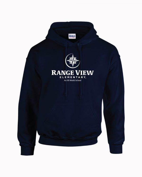 Range View Elementary School Adult Navy Fleece Pullover Hooded Sweatshirt