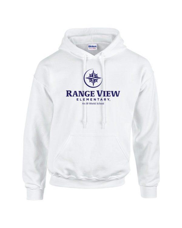 Range View Elementary School Adult White Fleece Pullover Hooded Sweatshirt