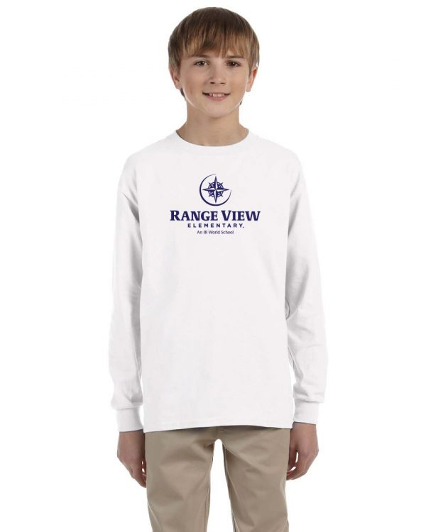 Range View Elementary School Youth White Long Sleeve Cotton T-Shirt