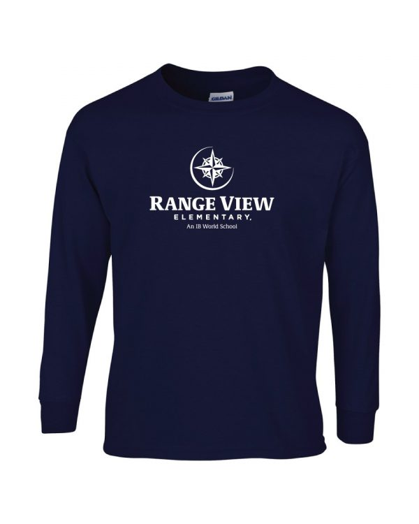 Range View Elementary School Adult Navy Long Sleeve Cotton T-shirt