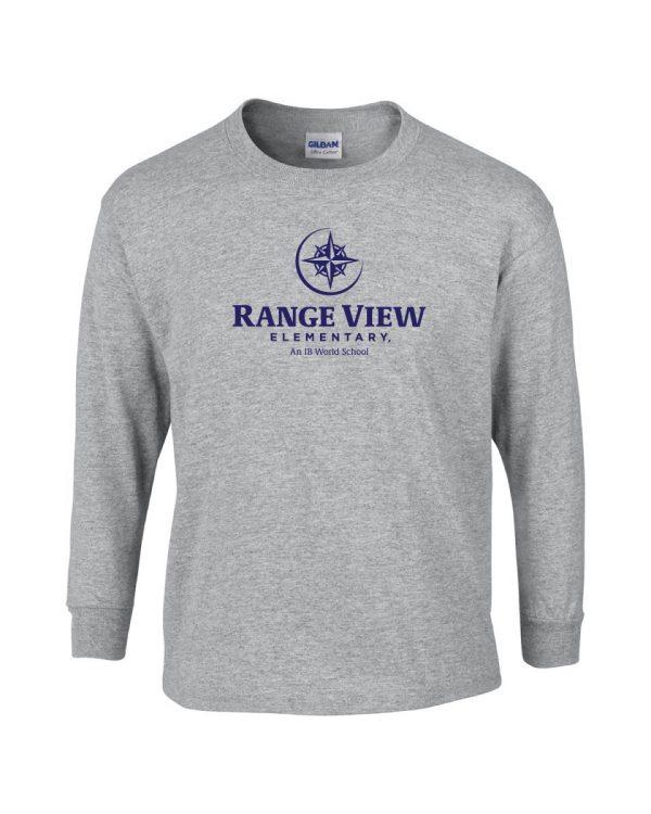 Range View Elementary School Adult Grey Long Sleeve Cotton T-shirt
