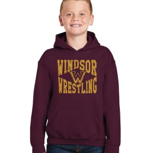 WMS Wrestling Youth Maroon Pullover Hooded Sweatshirt