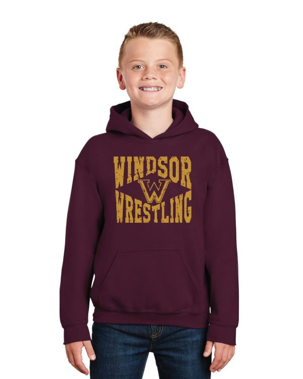 WMS Wrestling Youth Maroon Pullover Hooded Sweatshirt