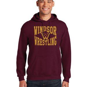 WMS Wrestling Adult Maroon Pullover Hooded Sweatshirt